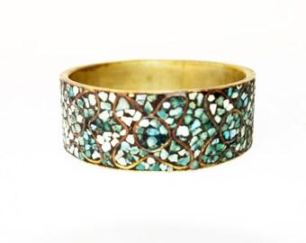 Vintage Turqoise Bracelet British India Turquoise Bangle Cuff