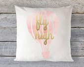 "Pillow Cover 16"" x 16"" - ""Fly High""  - Faux Gold Metallic on Pale Coral/Blush/Pink watercolor Hot Air Balloon"