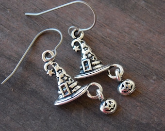 Titanium Earrings with Witch Hat Charms and Tiny Jack O Lanterns Halloween Hypoallergenic Titanium Ear Wires