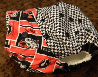 SassyCloth one size pocket diaper with Georgia Bulldogs and houndstooth cotton print. Ready to ship.