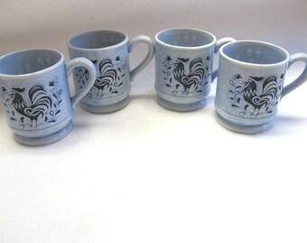 Rare Lefton Blue Rooster Tulip Cup Mug Set of Four