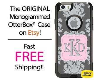 iPhone OtterBox Commuter Case for iPhone 7, 7 Plus, 6/6s, 6 Plus/6s Plus, 5/5s/SE, 5c Galaxy S7 S6 S5 Note 5 Monogram Two Tone Damask Case