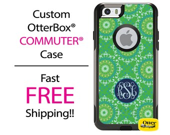 Custom OTTERBOX COMMUTER iPhone 7, 7 Plus, 6/6s, 6 Plus/6s Plus, 5/5s/SE, 5c Galaxy S7 S6 S5 Note 5 Case Kelly Green Flowers Floral Monogram