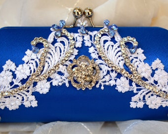 Blue Bridal Clutch -  Something blue clutch -- Swarovski crystals