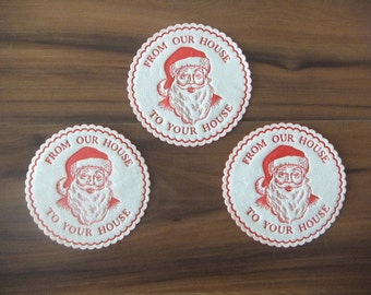 Vintage Christmas Santa Coasters, From Our House to Your House, Set of 10, Christmas Cocktail Party or Repurpose