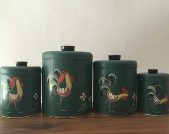 Ransburg Roosters Canister Set, Dark Green, Set of Four (4) Kitchen Metal Canisters