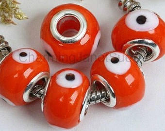 5 Orange EVIL EYE BEADS Solid glass European Bracelets Gift Jewelry Supply Supplies