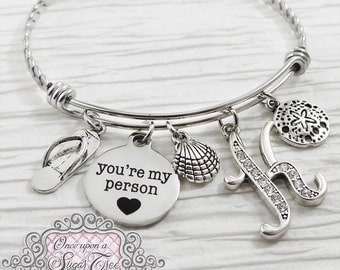 You're my person bracelet, Girlfriend Gift,  Initial BANGLE Bracelet, Wife Gift, Beach Jewelry,youre my person, Charm Bracelet, Personalized