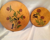 Vintage birds with thistle wood plaques