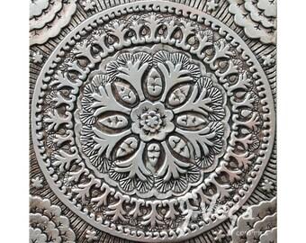 Suzani ceramic art // Wall tile with suzani design// Decorative tile // Ceramic art // Hand painted tile // Suzani #4 // Silver