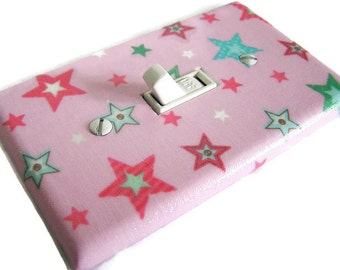 PINK STARS Light Switch Cover Plate Switchplate Nursery Decor Girls Room Decor