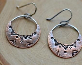 Copper crescent earrings, gypsy earrings,  copper jewelry, handstamped