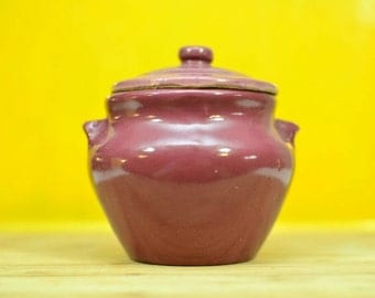 Vintage Dutchess Cheese Covered Stoneware Crock Mauve Dutchess Food Specialties Company Pleasantville, NY Dutchess County Purple Covered Jar
