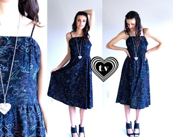 vtg 80s pastel CHALK PRINT doodle Sun DRESS S black full skirt retro unique pleated indie summer boho