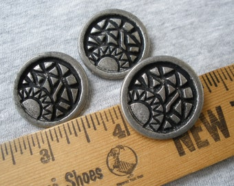 """28MM Sunrise Pattern Metal Buttons Antique Pewter color 45L 1 1/8"""" Black accent 3 pieces abstract sewing craft shank steampunk costume"""