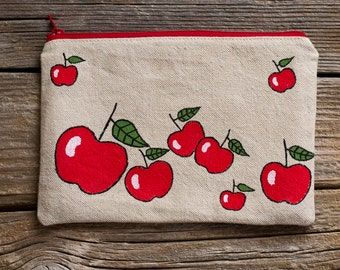 Hand Painted Red Apples Zipper Pouch, Natural Linen and Cotton Cosmetic Bag, Fruit Fashion Accessories