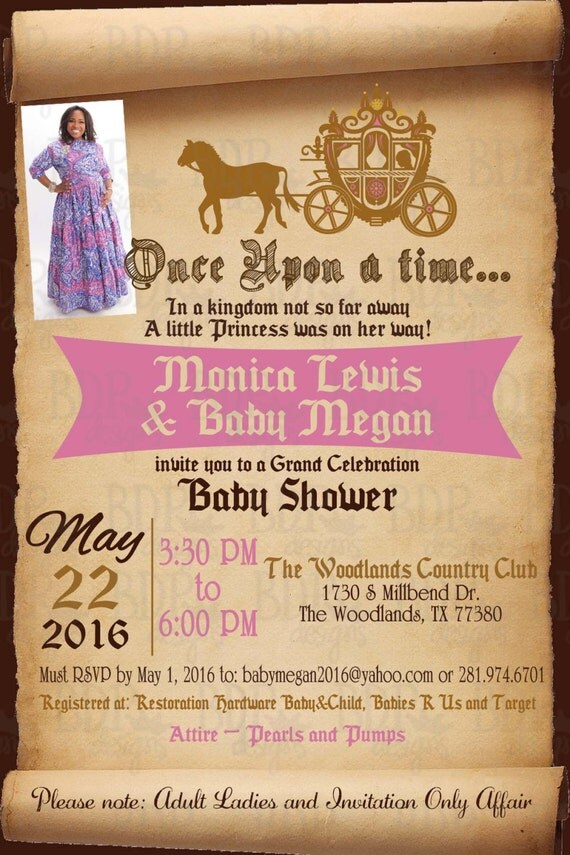 once upon a time fairytale baby shower invitation custom listing for