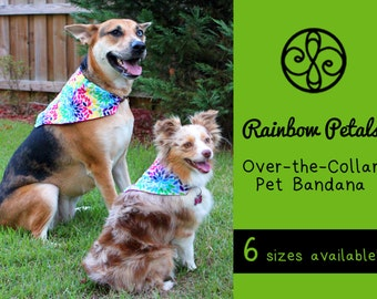 REVERSIBLE Rainbow Petals & Pink Pet Bandana
