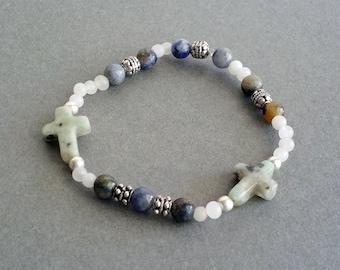 Gemstone Cross Bracelet, Christian Bracelet, Cross Bracelet, Beaded Cross Bracelet, Religious Bracelet