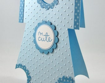 Baby Boy Onesie Greeting Card, Blue, Baby Blue, White, Polka Dots, Cute, I'm Cute, Adorable, Baby Shower, New Baby, Welcome Baby