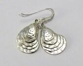 Silver Oyster Earrings