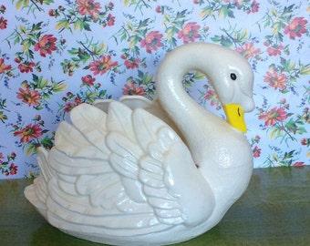 Vintage  Swan Planter--Ceramic Swan
