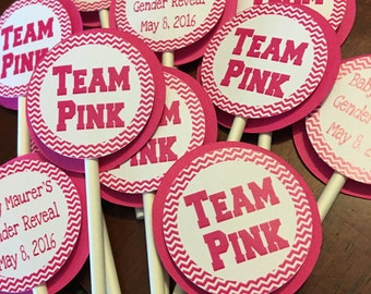 Team Pink and Team Blue Cupcake Toppers