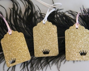 Pink and Gold First Birthday Decoration | Gold Crown Princess Party Gift Tags | Glitter Gold Party Favor Hang Tags | Set of 10