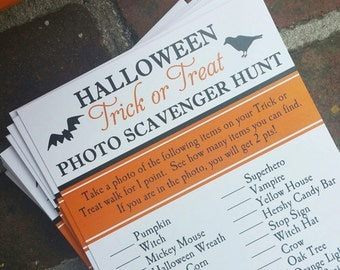 Halloween Party Scavenger Hunt Trick or Treat Printable - Instant Download