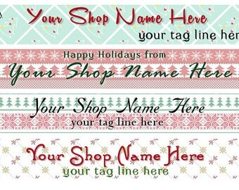 Large Etsy Facebook Cover Photo Ready Made Premade  Christmas Holiday Winter Blue Pink Whimsical Snowman Banner   - You Pick One