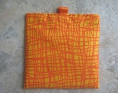 Orange Squiggles - Reusable Sandwich Bag, Reusable Snack Bag with tabs