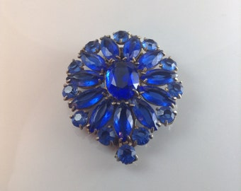 Antique Art Deco Blue Glass Dress Clip