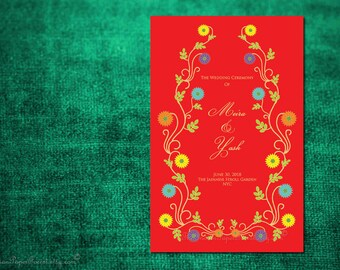 Boho Rustic INDIAN SUMMER Wedding Program Custom Design Printable Pdf Hindu Ceremony Order of Service Invitation Set Muslim Sikh Jain Nepali