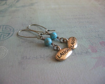 Laugh Blue Turquoise Earrings - Live Love Laugh Earrings - Turquoise and Laugh Charm Vintage Gold, Bronze Earrings - Inspirational Jewelry