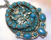 Handmade Unique Big Sun God Turquoise Pendant, turquoise necklace, southwest, southwestern, made with vintage jewelry, blue, large, lizones