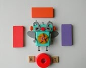 Robot Ornament - Super Bug Bot - Upcycled Ornament - Hanging Decor by Jen Hardwick