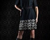 Black and white dress, ornament dress, lace dress, see through dress, handmade dress, loose dress, short sleeved dress, boatneck dress