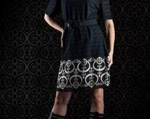 Reserved for Uga Black and white dress, ornament dress, lace dress, see through dress, handmade dress,short sleeved dress, boatneck dress
