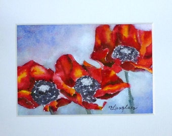 Original Miniature Painting in Watercolor - Red Poppies
