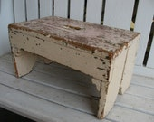 Antique Primitive Wood Bench Pink ChiPpY Paint Cottage Chic Rustic Wood Stool