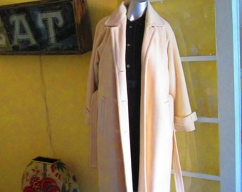 Vintage Chic Anne Klein White Wool Long Coat Sash Belt / Medium Large Size