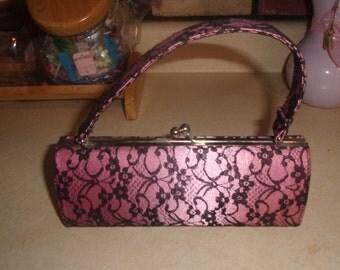 vintage purse handbag pink black lace