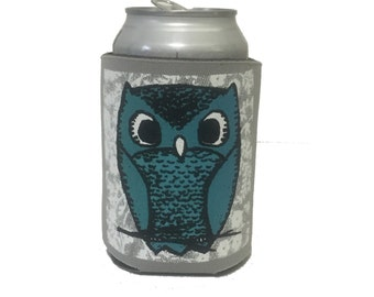 owl can coolie (blue/gray), owl can cozy, beer cozy, owl can holder, can cooler