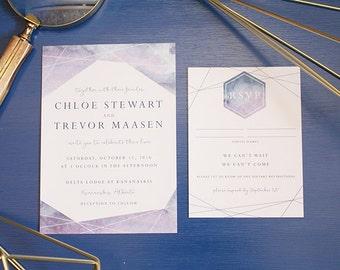 Geometric Watercolor Celestial Wedding Invitation Card Invite Calgary Modern Stylish Alberta Watercolour