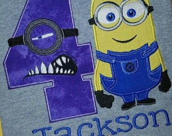 Minion Birthday Shirt, purple
