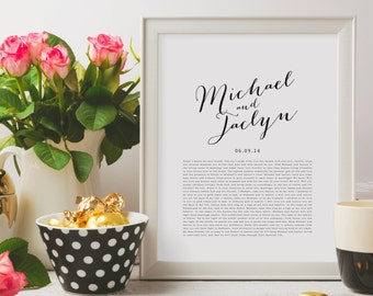 Valentines Day Gift. Wedding Vows Keepsake Print for Newlyweds & Anniversaries - Calligraphy