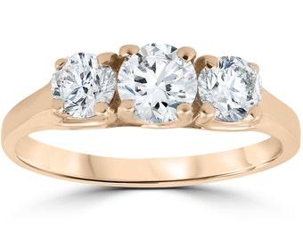 1ct Three Stone Solitaire Diamond Anniversary Engagement Ring 14k Rose Gold