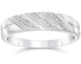 Mens Diamond Ring, Diamond Wedding Ring, White Gold Diamond Ring, 1/5ct Mens Diamond Ring 10K White Gold, Anniversary Band, Wedding Band