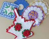 Collection of 5 Hand Crochet Pot Holders 939a
