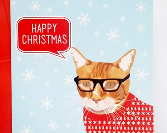 Ginger Cat Christmas Card - Cat in Christmas Jumper Card